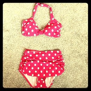 Modcloth Swim - High waisted polka dot bikini